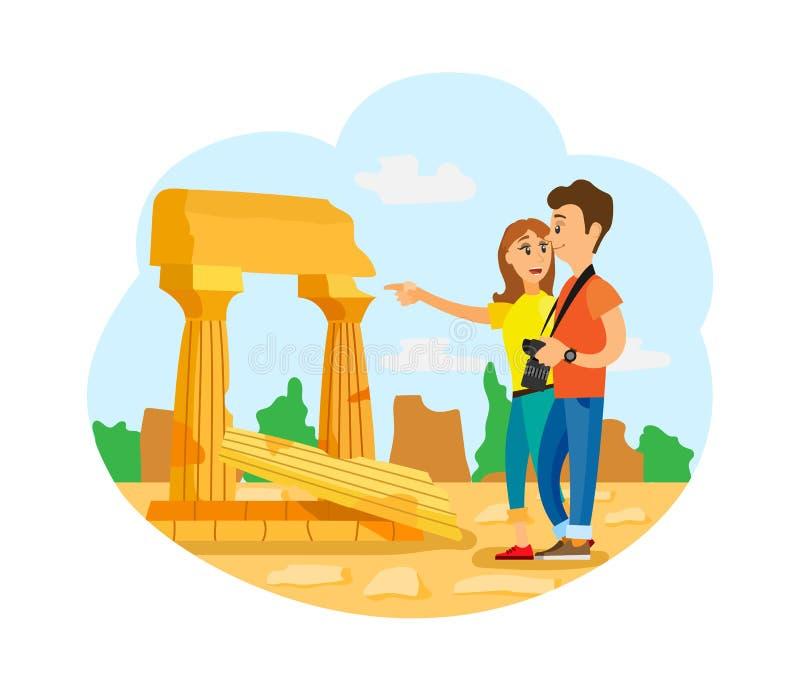 Les gens regardant de vieilles ruines, piliers et nature illustration libre de droits