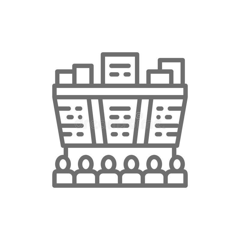 Les gens regardent des prix de marché boursier sur un panneau d'affichage, ligne en ligne icône d'opérations boursières illustration de vecteur