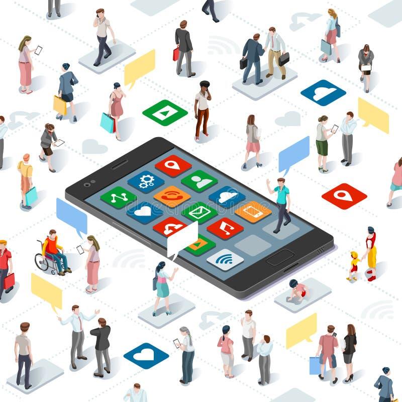 Les gens reliant le vecteur Infographic isométrique de Smartphone illustration stock