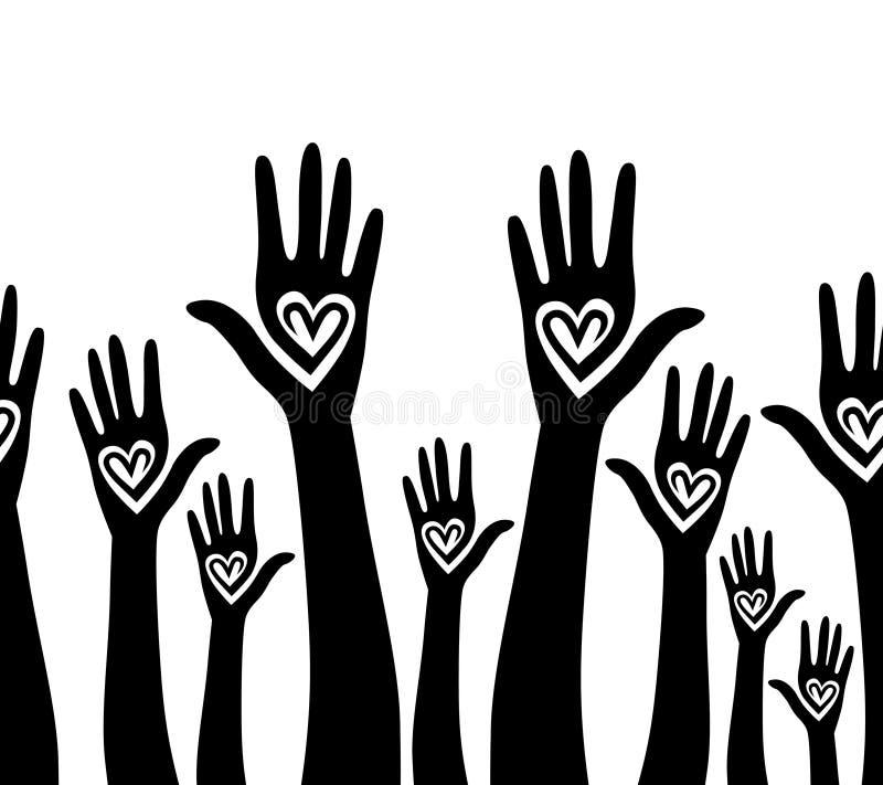Les gens remettent comme le fond sans joint uni par coeur. illustration de vecteur