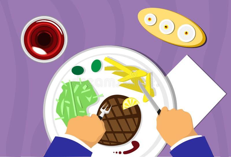 Les gens remettent, nourriture de plat d'enjeu de viande de restaurant, Wine vue supérieure illustration de vecteur