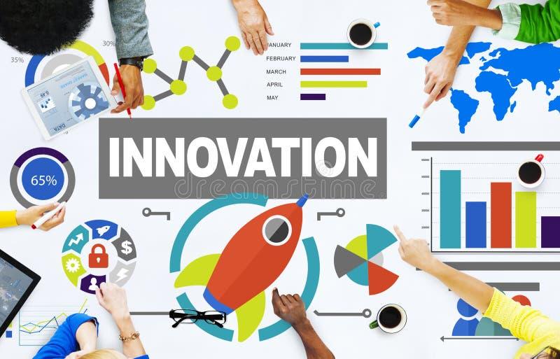 Les gens rencontrant le concept d'innovation de succès de croissance de créativité illustration libre de droits