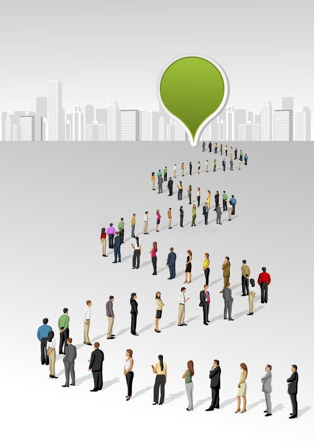 Les gens restant dans une ligne illustration libre de droits