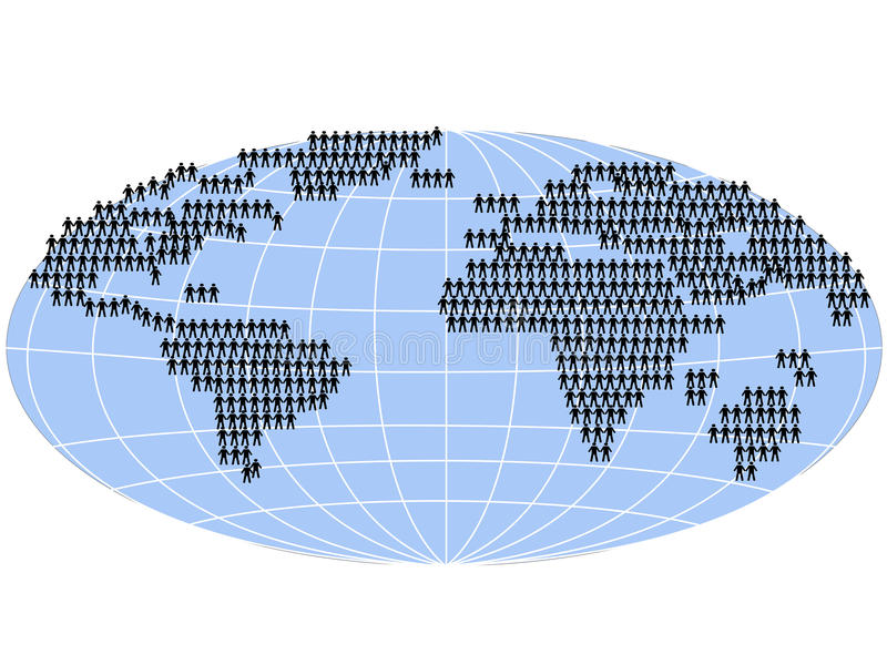 Les gens restant sur la carte du monde illustration stock