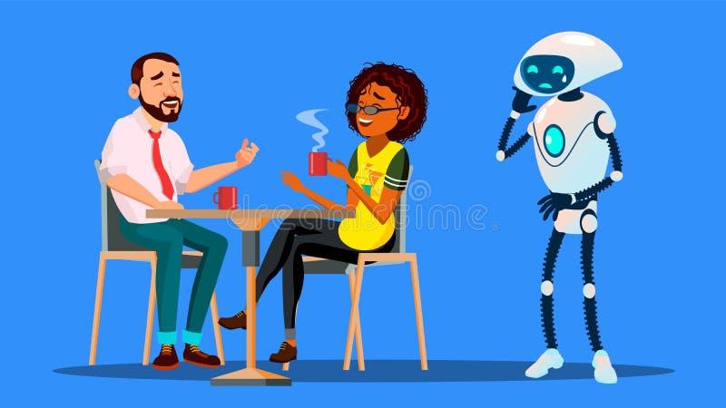 Les gens s'accordant dans le restaurant et ignorant le robot triste seul restant le vecteur Illustration d'isolement illustration de vecteur