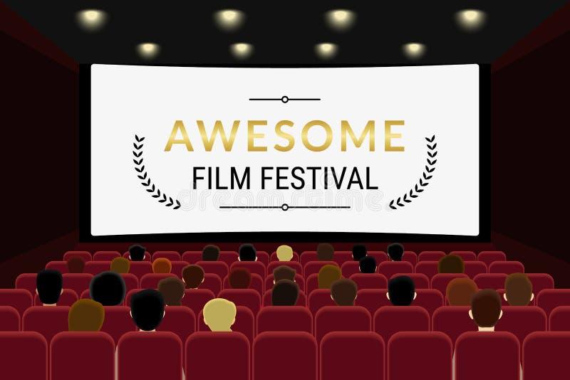 Les gens s'asseyant dans le hall de cinéma et le film de observation dans le cinéma illustration libre de droits