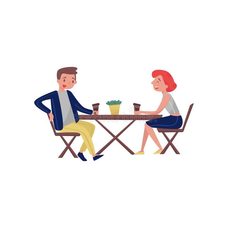 Les gens s'asseyant derrière la table en bois et rire Jeunes couples de bande dessinée parlant pendant la pause-café Conception p illustration stock