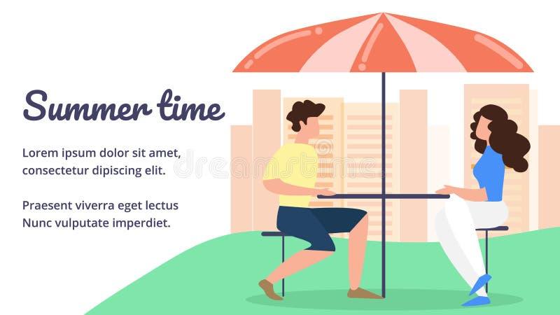 Les gens s'asseyant en café au Tableau avec le parapluie illustration stock
