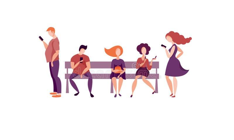Les gens s'asseyent sur un banc illustration libre de droits