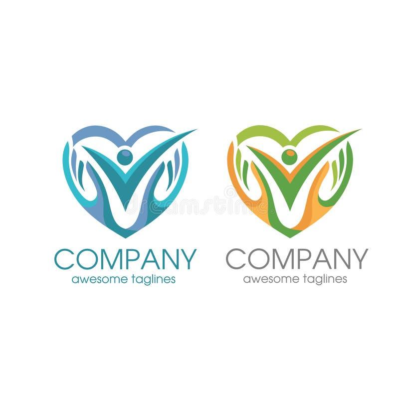Les gens s'inquiètent le logo, l'amour humain et le calibre de logo de symbole de main illustration de vecteur