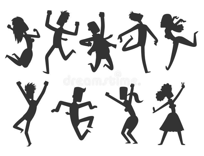 Les gens sautant chez l'homme heureux de vecteur de partie de célébration sautent l'active gai de femme de silhouette de caractèr illustration de vecteur