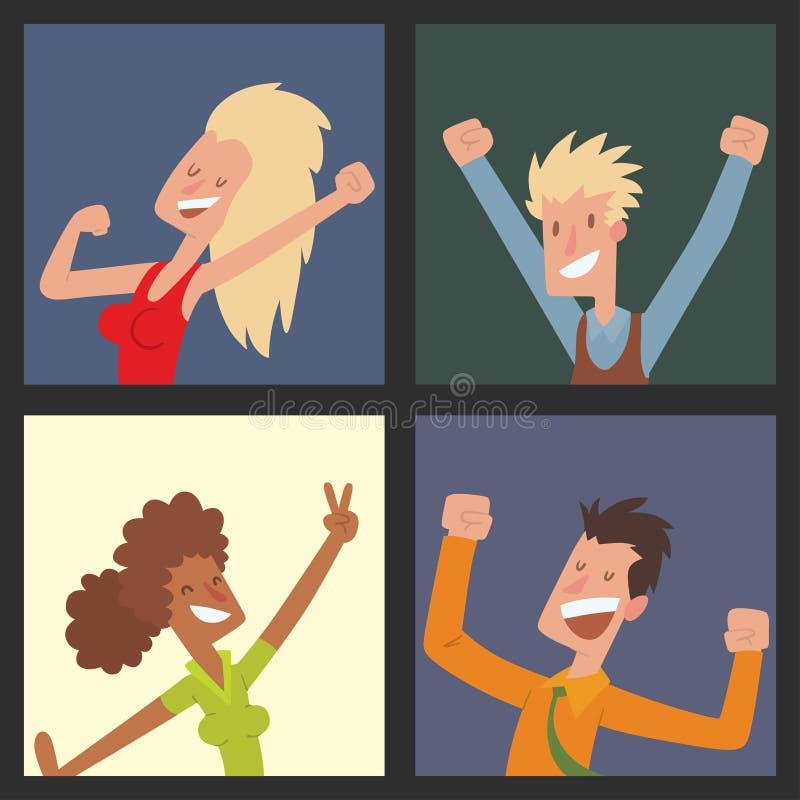 Les gens sautant chez l'homme heureux de vecteur de partie de célébration sautent le caractère de joie de célébration Bonheur gai illustration de vecteur