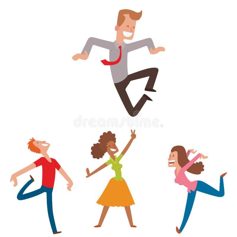 Les gens sautant chez l'homme heureux de vecteur de partie de célébration sautent le caractère de joie de célébration Bonheur gai illustration stock