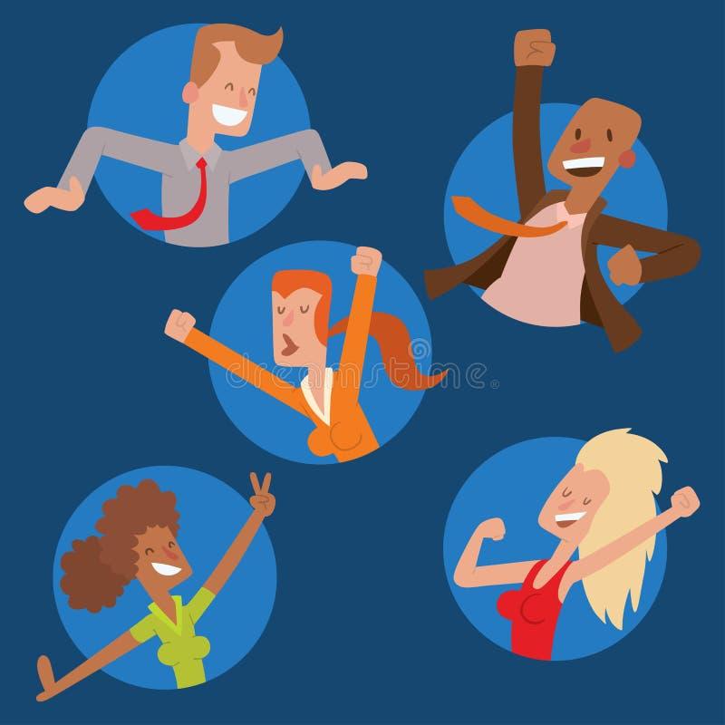 Les gens sautant chez l'homme heureux de vecteur de partie de célébration sautent le caractère de joie de célébration Bonheur gai illustration libre de droits