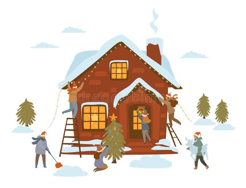 Les gens se préparant à la célébration de Noël, décorant la maison, arbres, porte d'entrée, yard avec des guirlandes de lumières  illustration de vecteur