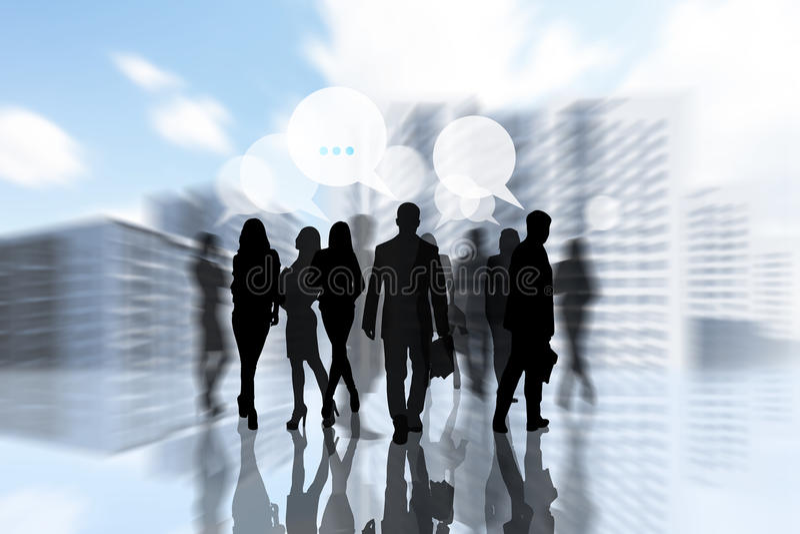 Les gens silhouettent dans la ville illustration stock