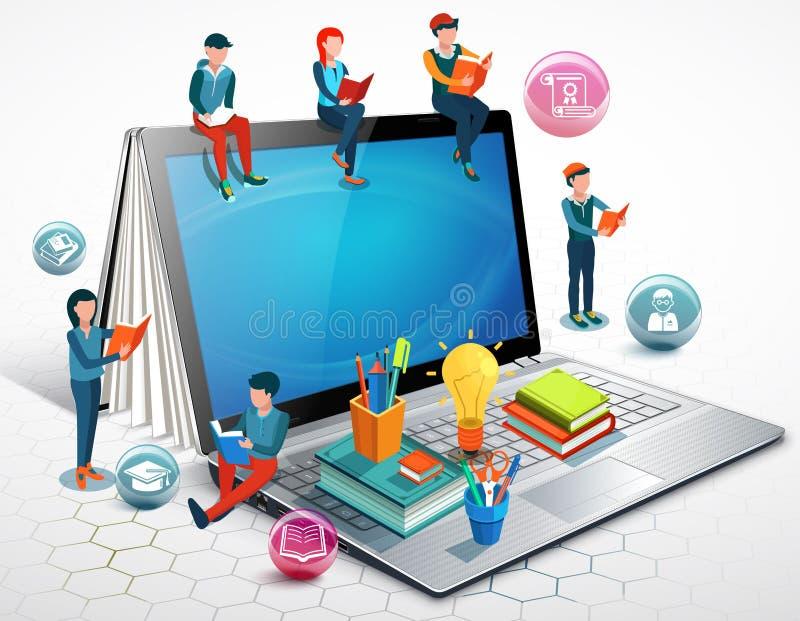 Les gens sont des livres de lecture se reposant sur un ordinateur portable Concept en ligne d'éducation Vecteur illustration libre de droits