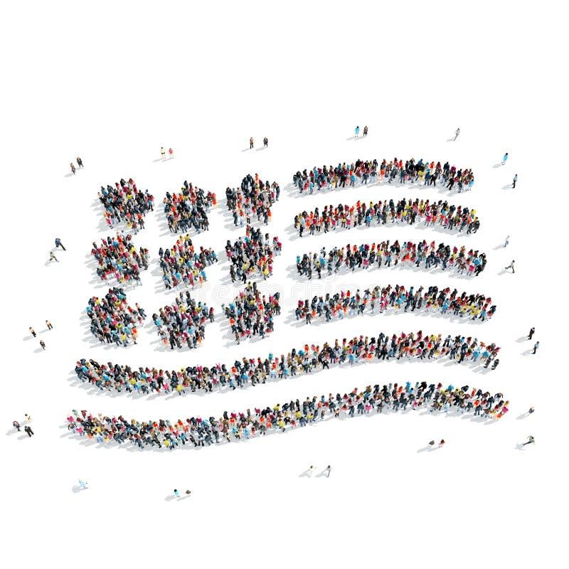 Les gens sous forme de drapeau américain illustration stock