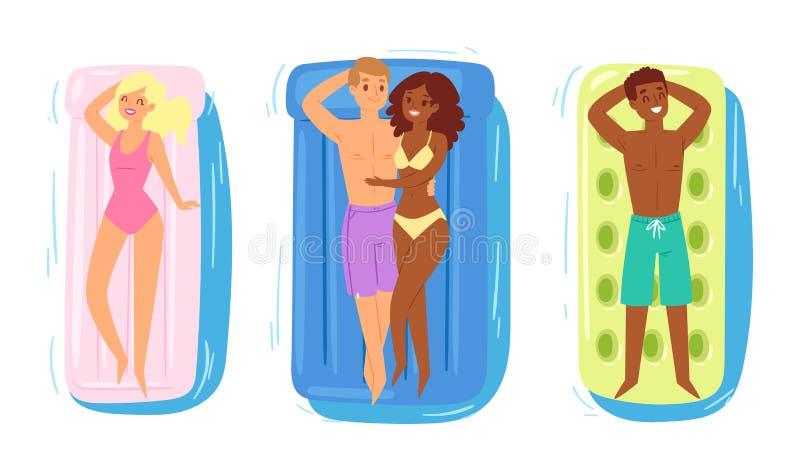 Les gens sur les caractères gonflables d'homme de femme de vecteur de matelas dans le maillot de bain sur flotter le matelas gonf illustration stock