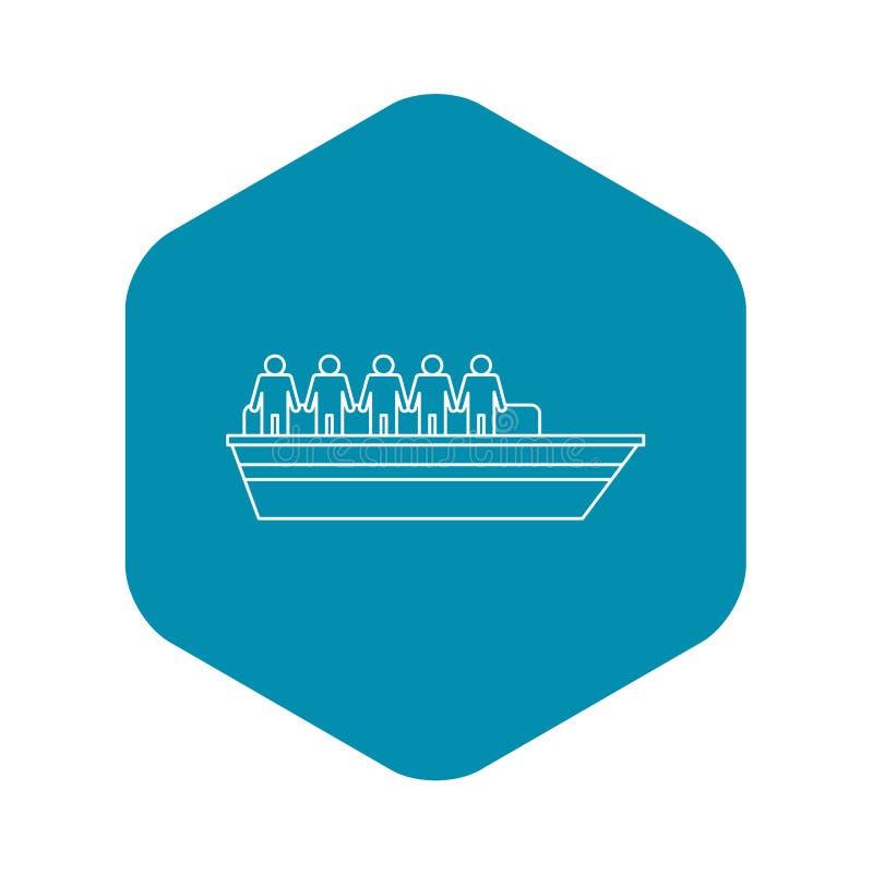 Les gens sur l'icône de bateau, style d'ensemble illustration libre de droits