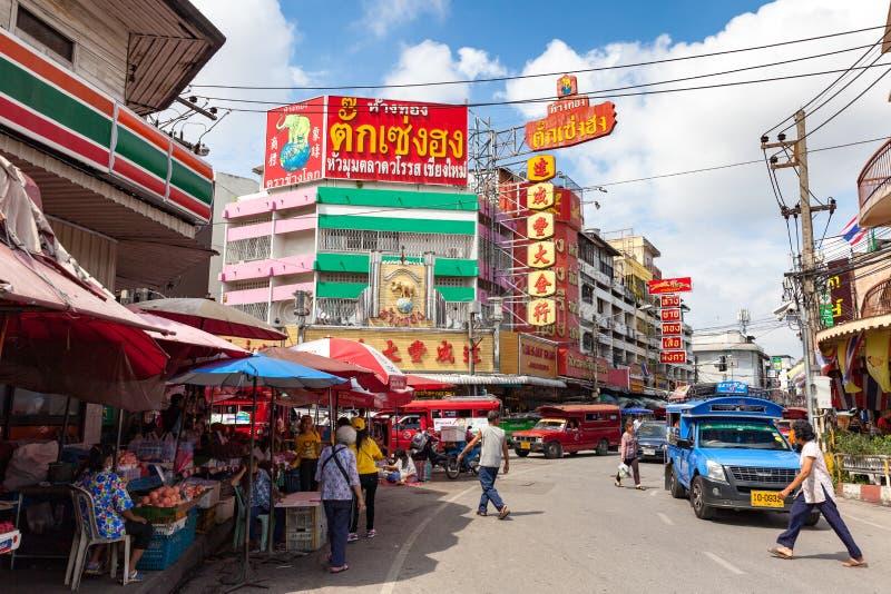 Les gens sur la rue de Chiang Mai photographie stock libre de droits
