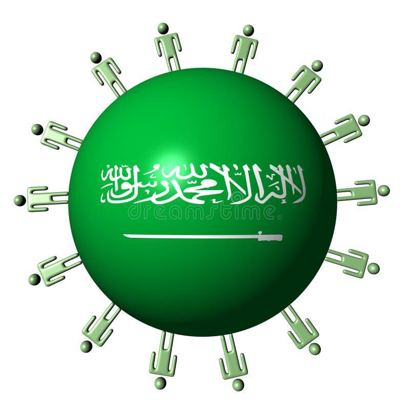 Les gens sur la sphère saoudienne d'indicateur illustration de vecteur