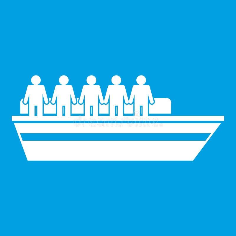 Les gens sur le blanc d'icône de bateau illustration de vecteur