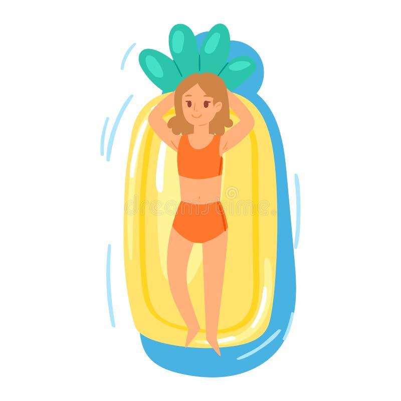 Les gens sur le caractère gonflable de fille de partie de vecteur de matelas dans le maillot de bain sur flotter le matelas gonfl illustration de vecteur