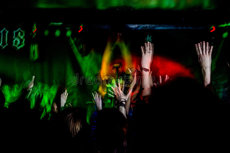 Les gens sur le concert de musique, partie de roche photographie stock libre de droits