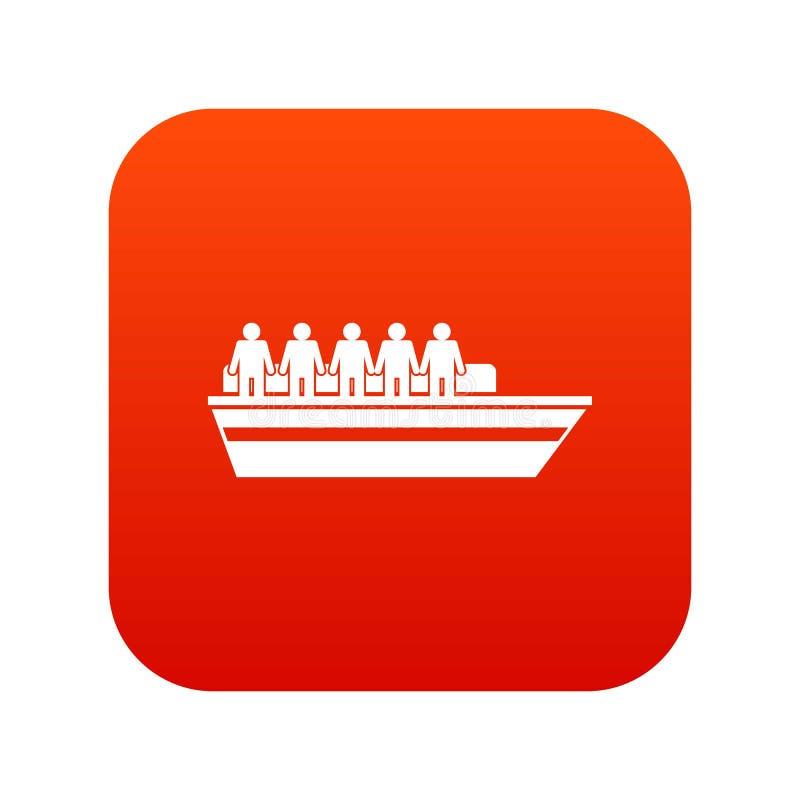 Les gens sur le rouge numérique d'icône de bateau illustration de vecteur