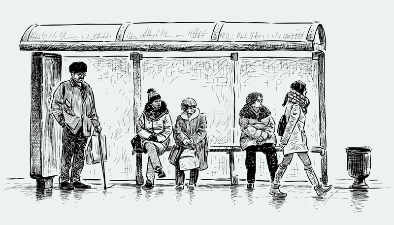 Les gens sur un arrêt d'autobus illustration de vecteur