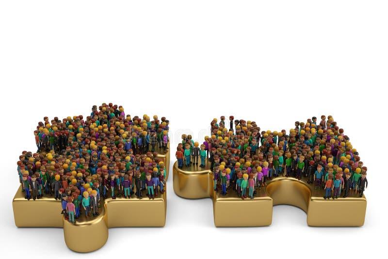Les gens sur un grand puzzle d'or illustration 3D illustration libre de droits