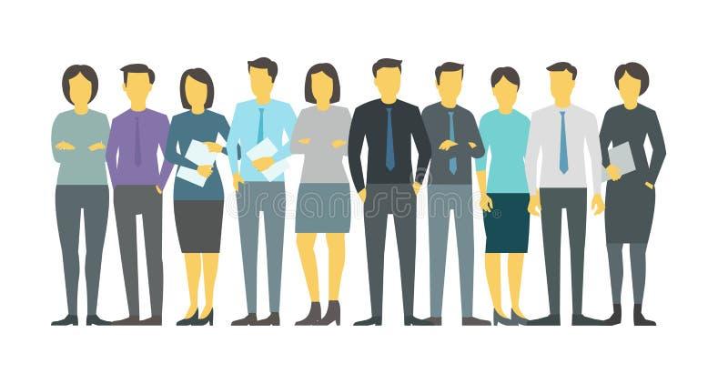 Les gens team l'étudiant dans la ligne Person d'affaires de groupe Illustration courante de vecteur illustration libre de droits