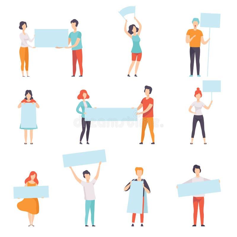Les gens tenant l'illustration vide de vecteur de concept de protestation d'ensemble, de promotion, de publicité ou de paix de ba illustration stock