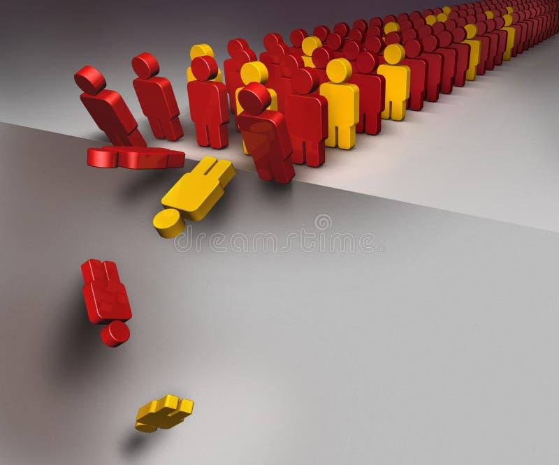 Les gens tombant vers le bas comme dans l'effet de domino illustration libre de droits