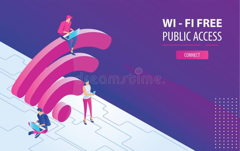 Les gens travaillant sur des ordinateurs portables se reposant sur un grand wifi signent dans la zone libre d'Internet Illustrati illustration stock