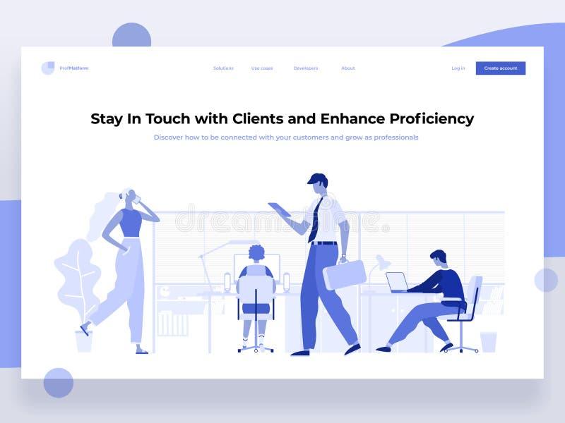 Les gens travaillent dans un bureau et agissent l'un sur l'autre avec différents dispositifs Affaires, gestion de déroulement des illustration de vecteur