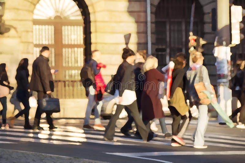Les gens traversant une rue images stock