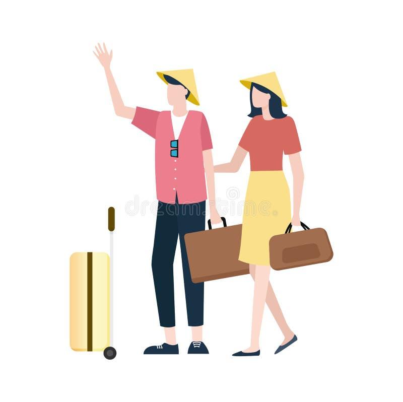 Les gens utilisant les chapeaux chinois spéciaux avec des bagages illustration libre de droits