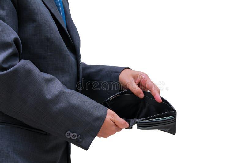 Les gens vérifient le portefeuille noir sur le fond blanc photos stock