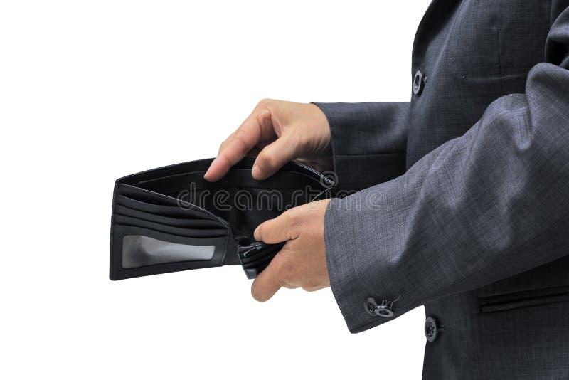 Les gens vérifient le portefeuille noir sur le fond blanc images stock