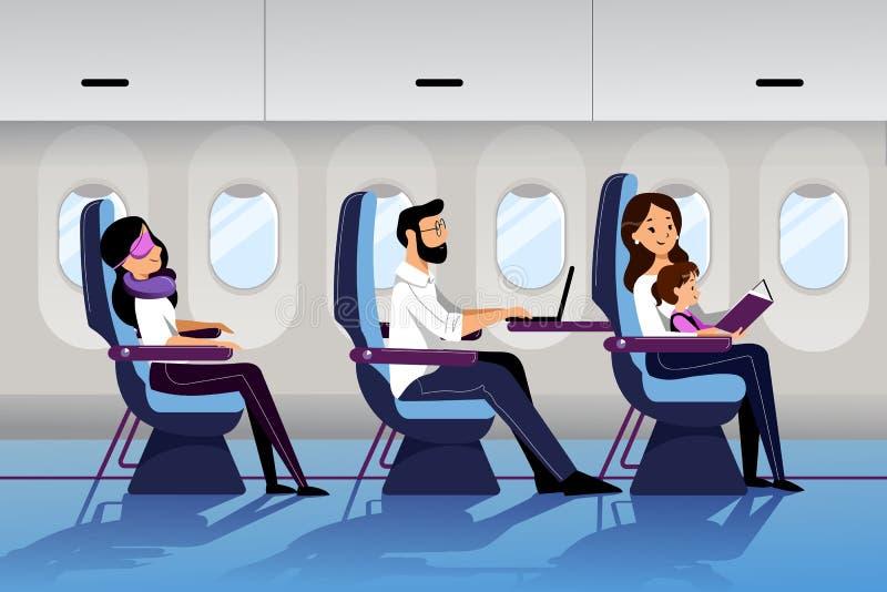 Les gens voyagent en avion dans la classe touriste Illustration plate de bande dessin?e de vecteur Jeune voyage de mère avec le b illustration libre de droits