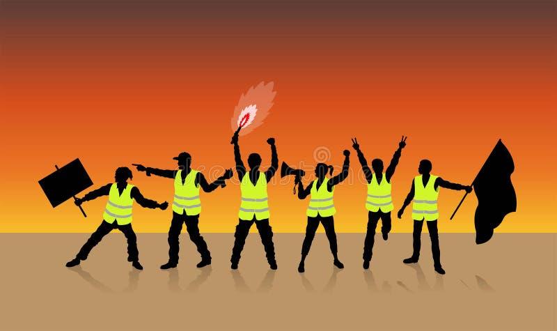 Les gilets jaunes protestent à Paris France devant le coucher du soleil illustration de vecteur