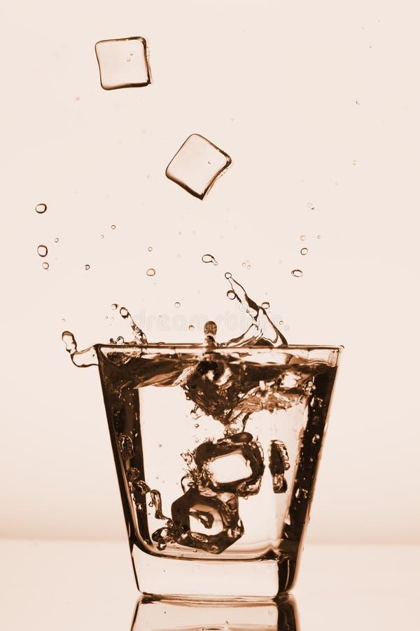 Les glaçons éclaboussant dans le verre, glaçon se sont laissés tomber dans le verre de l'eau, eau fraîche et froide, d'isolement  photo libre de droits