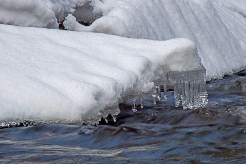 Les glaçons forment sur les banques de la rivière de Boyne photo stock
