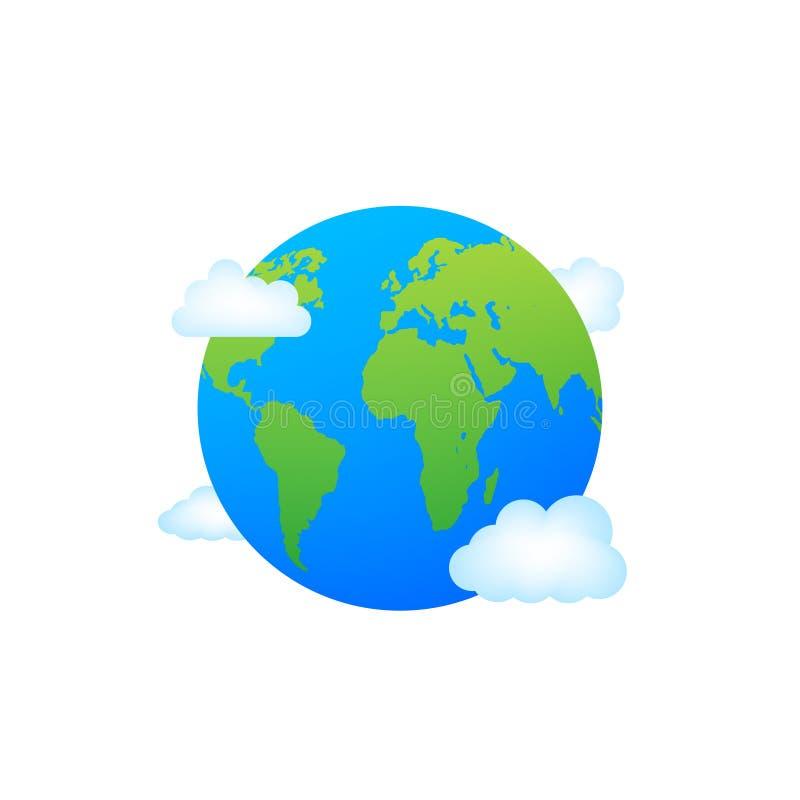 Les globes terrestres isolés sur fond blanc Icône planète Terre plane Illustration du stock vectoriel illustration de vecteur