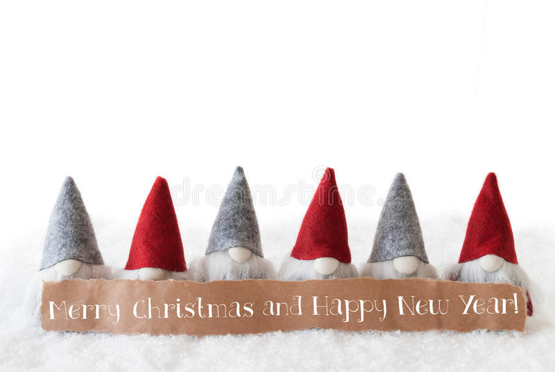 Les Gnomes, fond blanc, textotent le Joyeux Noël et la bonne année images stock