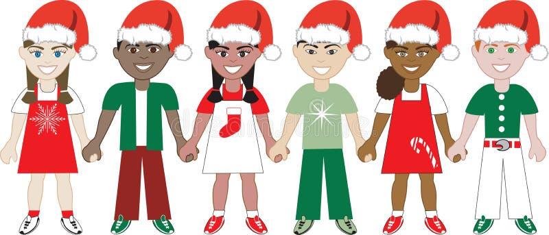 Les gosses de Noël ont uni 1 illustration de vecteur