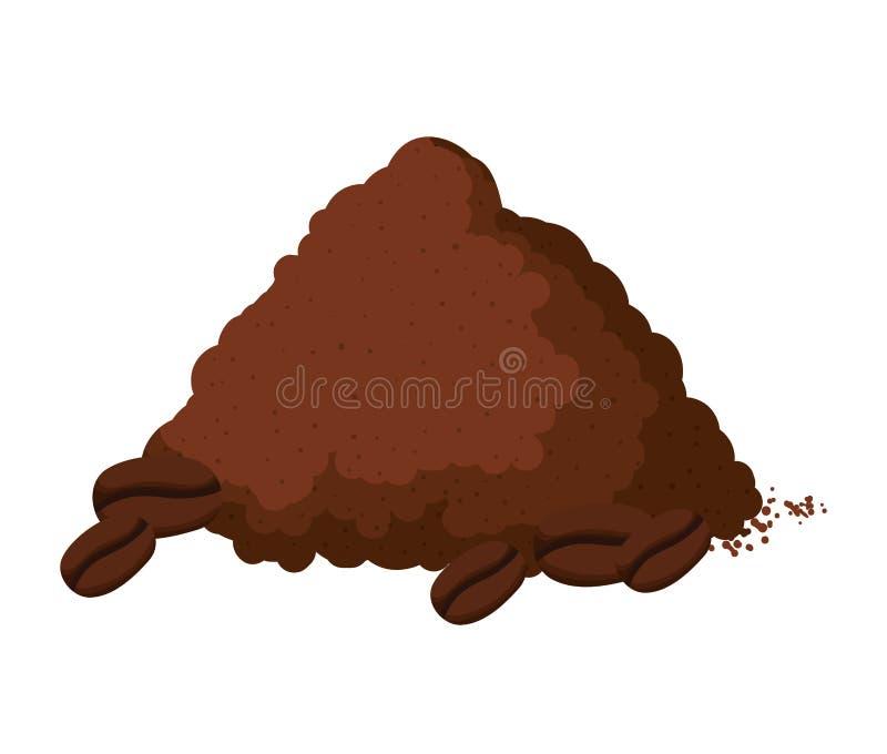 Les graines délicieuses de café grillent la poudre illustration stock