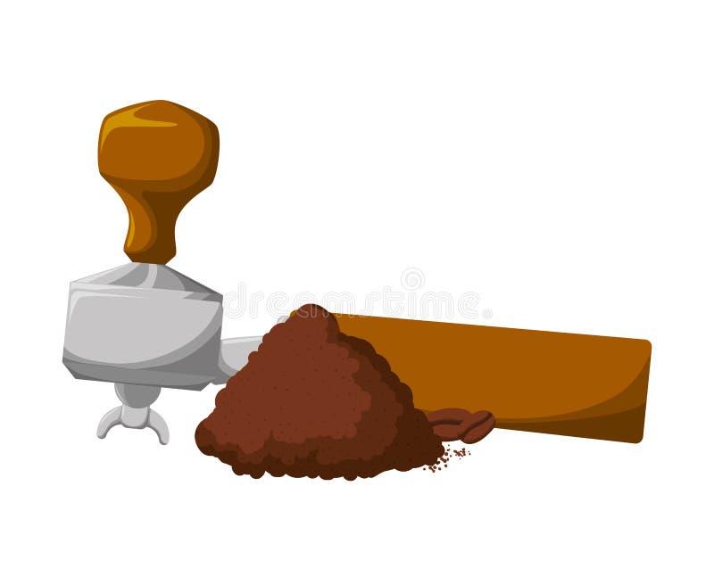 Les graines de café grillent la poudre avec l'outil illustration de vecteur
